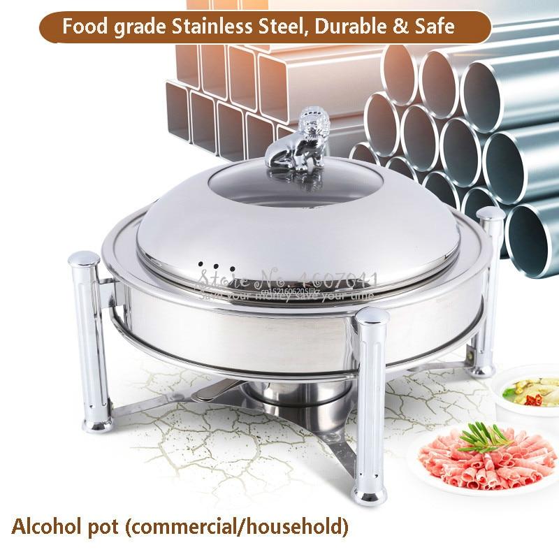 Estufa de alcohol de acero inoxidable de 24cm para uso doméstico/comercial, pequeño plato de frotamiento, depósito de combustible sólido, olla caliente seca pequeña