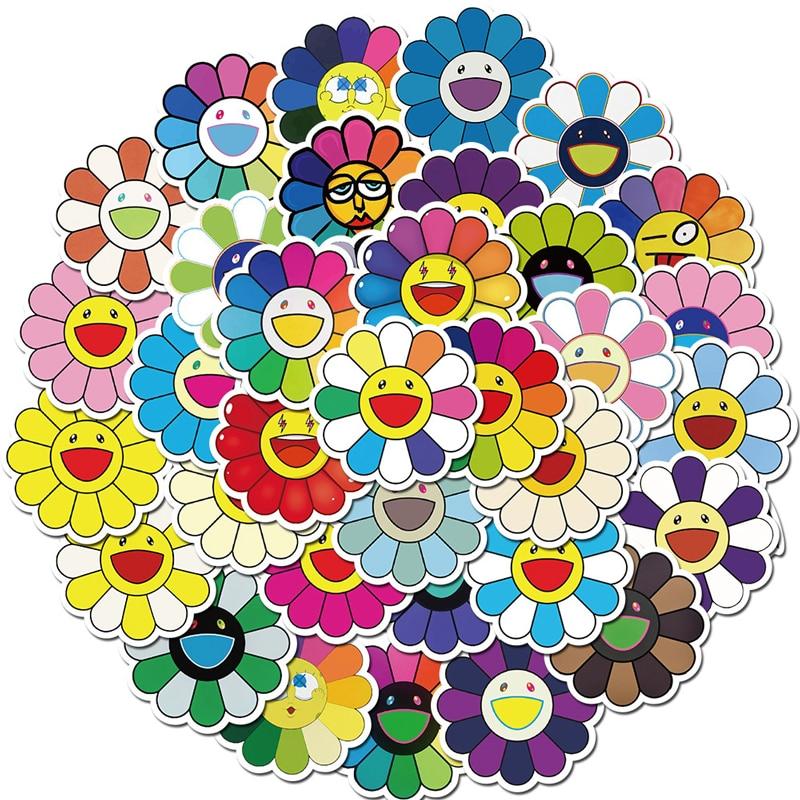 40 unids/pack colorido sol flor pegatinas para coches, motos de agua tazas muebles juguetes de los niños equipaje patinetas computadoras