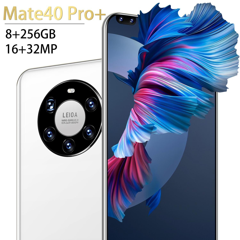 هاتف Mate 40pro + 5g 7.3 بوصة هاتف ذكي 12 + 256gb 6800mah Sim مزدوج أندرويد 10 شاشة كاملة عشاري النواة إصبع الوجه معرف الهاتف المحمول