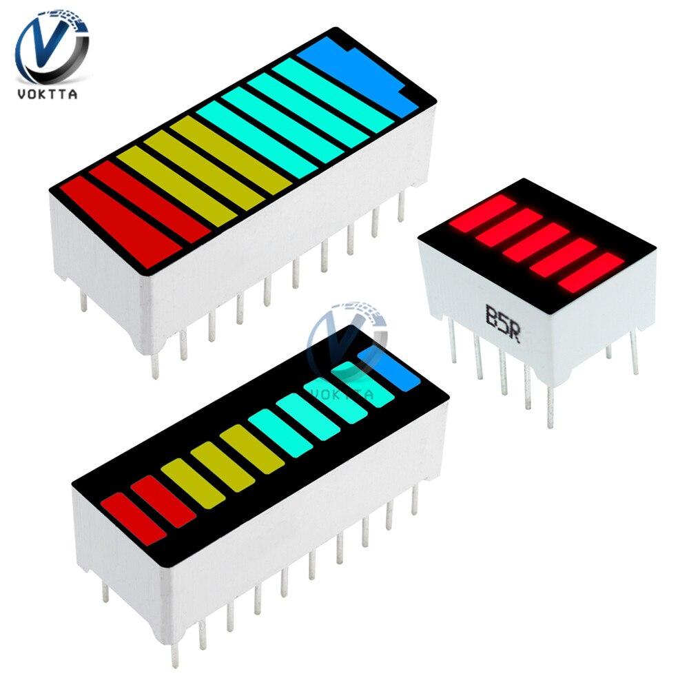 Barra de luz LED de 10 segmentos, pantalla LED roja, amarilla, verde, azul, 5 segmentos, roja, 4 colores, módulo de pantalla de capacidad de batería LED