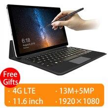 2020 Opgewaardeerd Volledig Aangesloten 2 In 1 Tablet Laptop Met Toetsenbord 4G Telefoon 11.6 Inch Tablet Android Gps Tablet 4G 13MP + 5MP