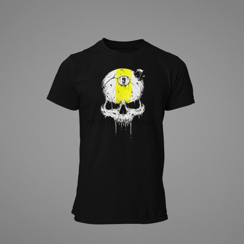 9 bola crânio bilhar unisex t camisa (1)