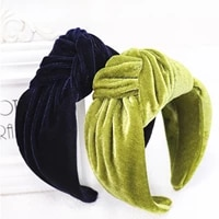 new fashion wide side women headband flannel hairband center knot headwear top quality hair accessories drop shipping