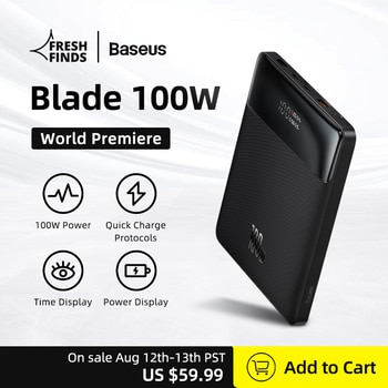 World Premiere Baseus 100W Power Bank 20000mAh Type C PD Fast Charging Powerbank Portable External Battery Charger for Notebook
