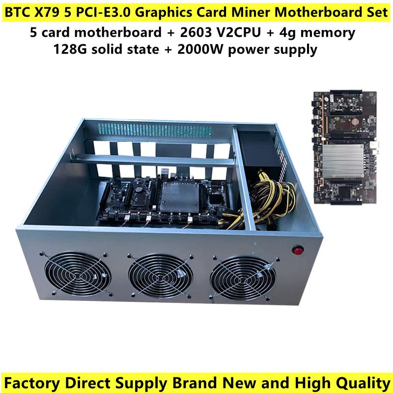 Brand New BTC X79 Miner Motherboard 5 PCI-E3.0 Graphics Card Slot 60mm Distance With Dedicated Chassis Kit For Support 3060 GPU