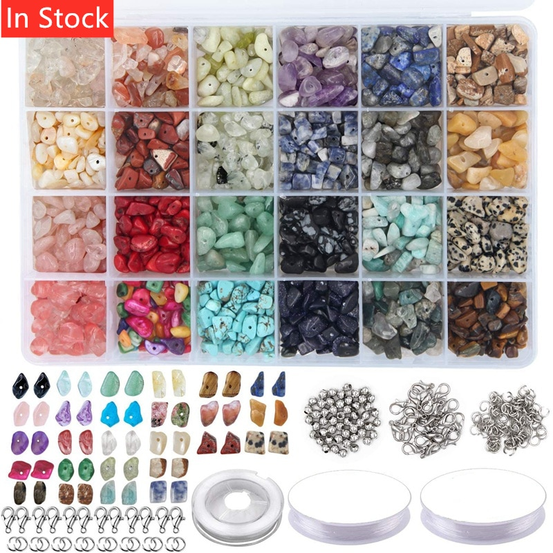 1323Pcs Irregular Gemstone Beads Kit with Spacer Beads Lobster Clasps Elastic Jump Rings for DIY Jew