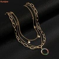 kunjoe bohemian new fashion jewelry necklace gothic statement necklace circle shape star multilayer necklace choker women girl