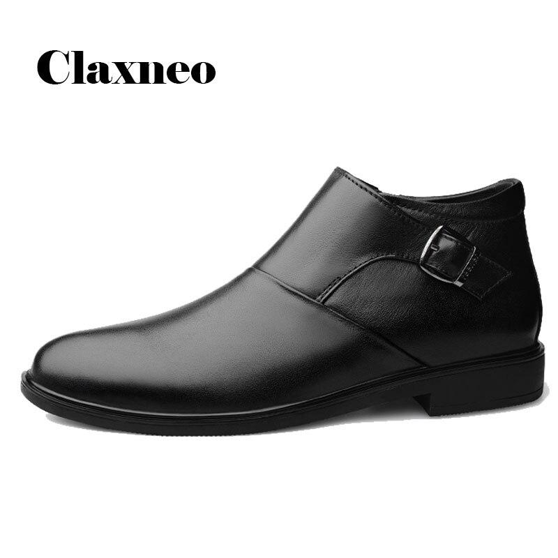 CLAXNEO Hombre Zapatos formales Zapatos de vestir de piel genuinos hombre Botas de tobillo cremallera Oficina botas para trabajo clax calzado para caminar hombre