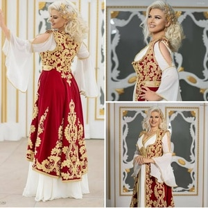 Traiditional Kosovo Evening Dress Two Pieces Robe Algerienne Mariage Velvet Prom Dresses For Women Lace Applique Bridal Gown