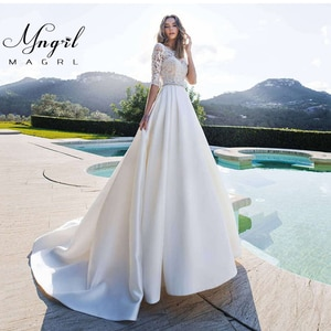 MNGRL New Simple Wedding Dress Backless Sleeveless Design Chiffon Lace Bride Dresses Princess Dress Plus Size Tailor-made