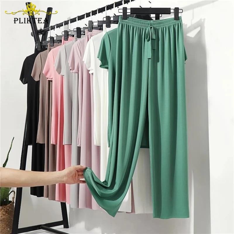 AliExpress - Pliktea Summer Loose Homewear Suit for Women Pajamas Pants Set Female Home Clothes Set Lady Home Suit Summer Women Lounge Wear