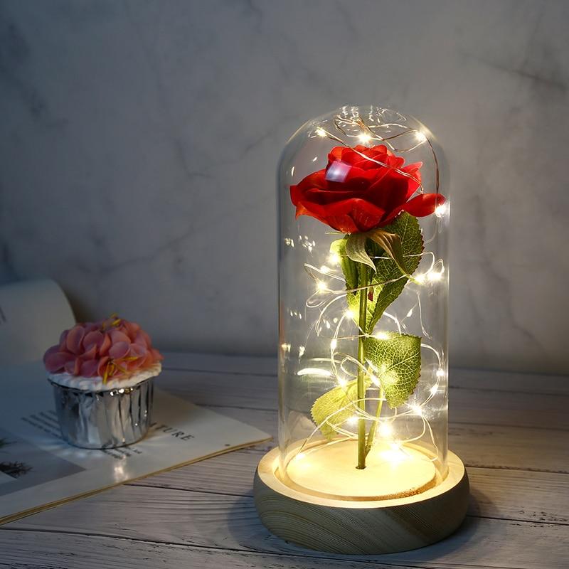 وردة صناعية تحت قبة زجاجية مع LED ، زهرة أبدية ، للمنزل ، هدية زفاف ، عيد الحب ، الجمال والوحش ، غطاء زجاجي