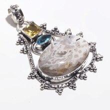 Véritable océan Jasper + Citrine + topaze bleue pendentif en argent superposition sur des bijoux en cuivre, cadeau de bijoux pour femmes fait à la main