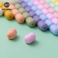 lets make silicone beads teething teether 50pcs cylinder dummy making teether diy pacifier clips beads necklace care infant