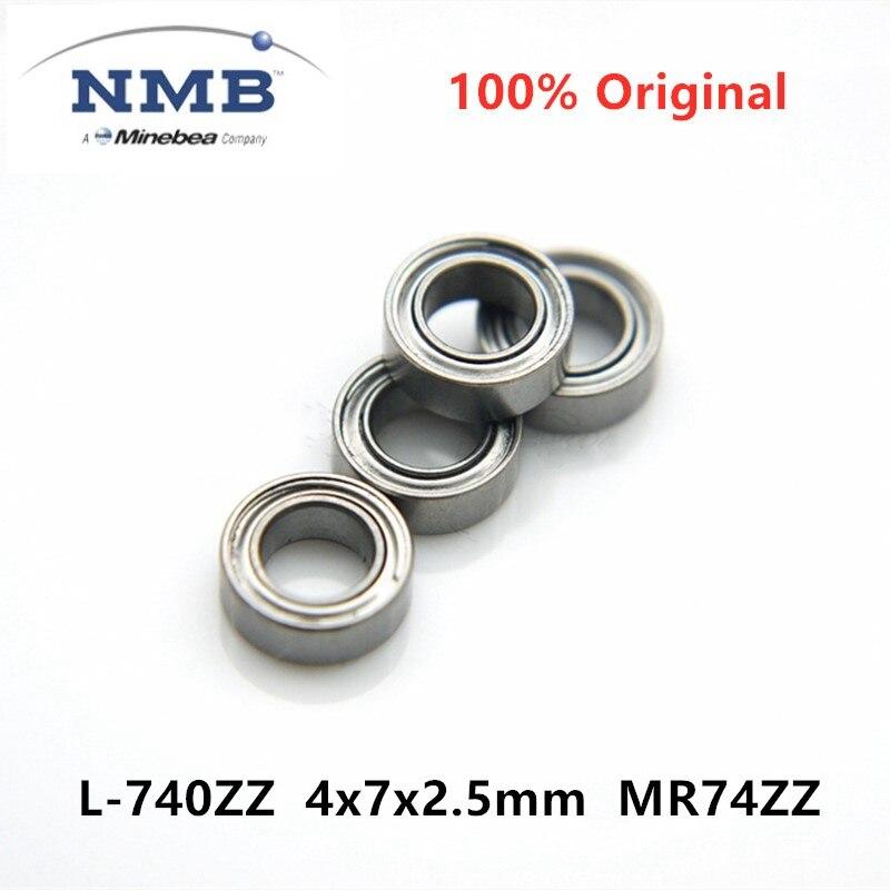 50 pces original nmb minebea L-740ZZ 4x7x2.5mm mr74zz ABEC-5 rolamento de esferas profundo em miniatura de alta velocidade 4*7*2.5 do sulco