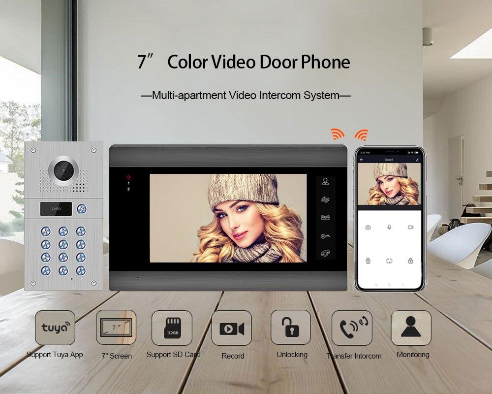 New 7 Inch Wireless WiFi Video Intercom for Home IP Video Doorbell Password APP Unlock AHD Screen Wifi Intercom System enlarge