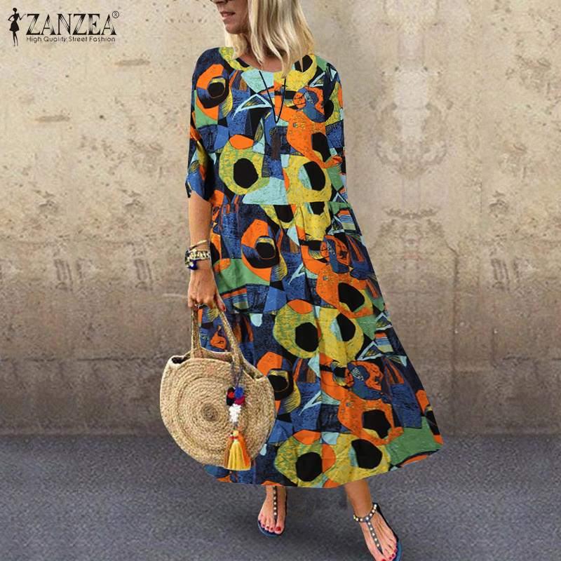 ZANZEA-Vestido veraniego estampado bohemio, para mujer, de media manga, algodón y lino, Vestido Vintage playero de fiesta, caftán femenino