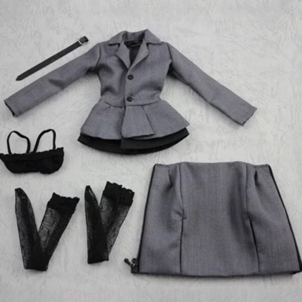 CC254 1/6 весы женской одежды серый бизнес костюм офис леди комплект одежды для детей возрастом от 12 ''дюйма женской фигуры средства ухода за кож...