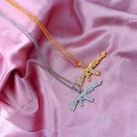 jjfoucs bling bling ak 47 submachine gun crystal pendant necklace gold silver color metal necklace unisex punk hip hop jewelry
