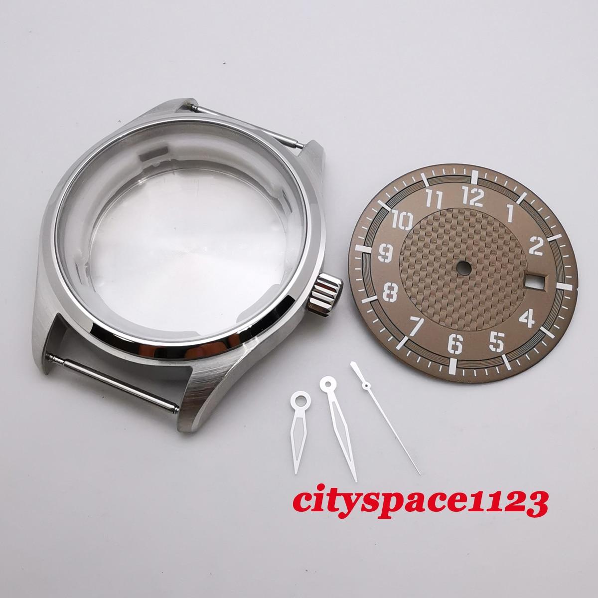 Caixa de Relógio Peças à Prova Corgeut Case Inoxidável Estéril Marrom Dial Mãos Caber Nh35 Nh36 Movimento Automático Relógio Dwaterproof Água 40mm Aço