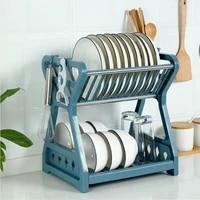 double layer dish storage drain rack bowl plates shelf with chopstick cage hook tableware organizer rack basket kitchen tools