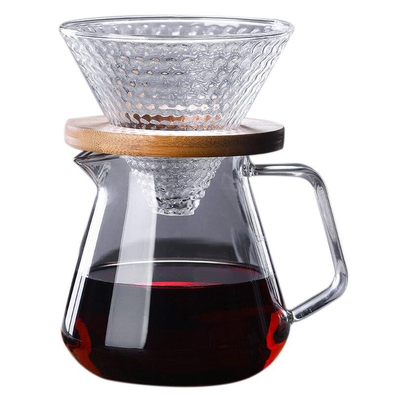 ابريق قهوة زجاجي V60, ابريق يستخدم في صب القهوة واناء تنقيط القهوة وغلاية القهوة ومخمر القهوة ودورق بائعة القهوة بفلتر شفاف ، سعة 500 مللي