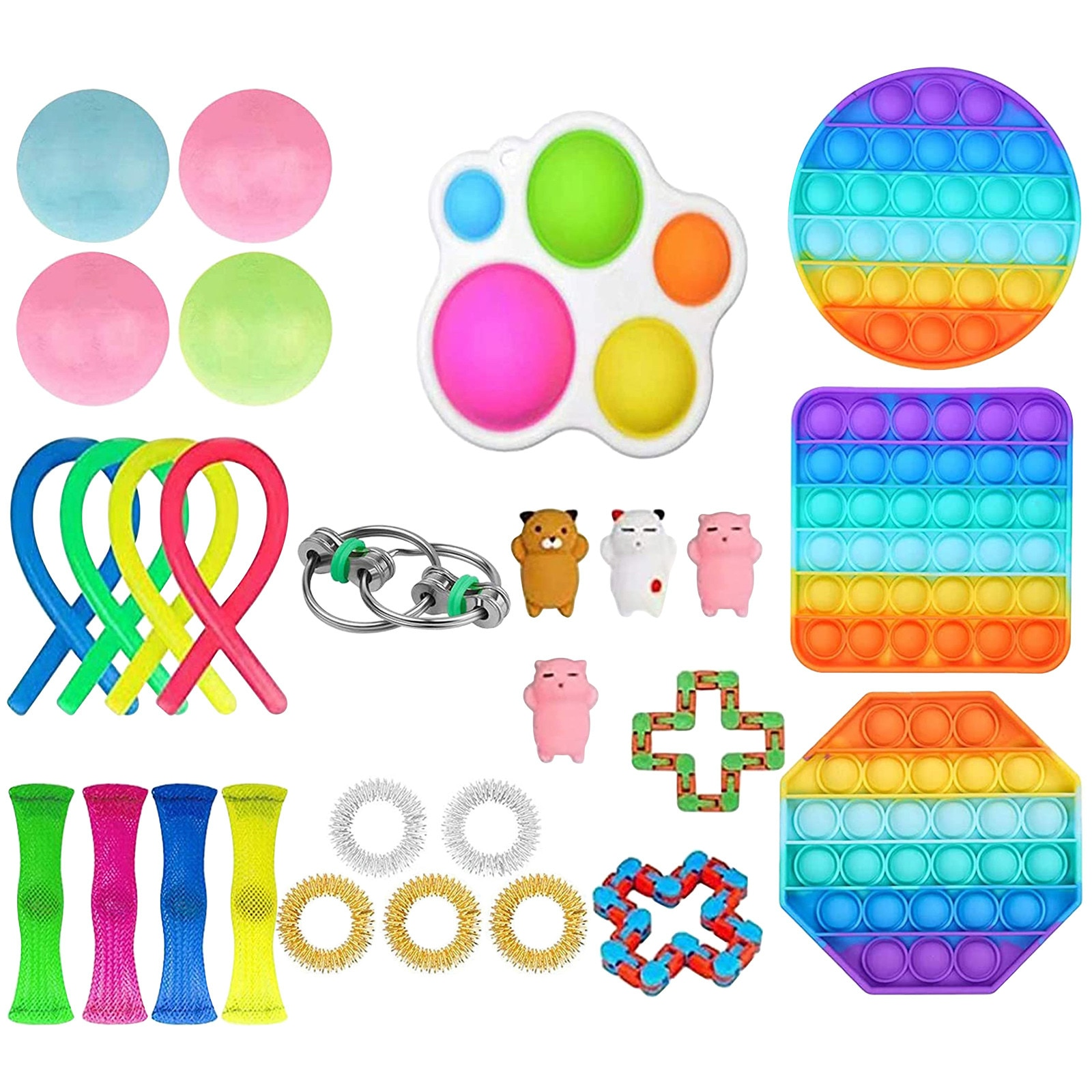 Fidget Toys Pack Gifts Popit Sensory Stress Relief Set Stretchy Strings Kids Adult Squishy Figet Toys Slow Rebound Ball Among us enlarge