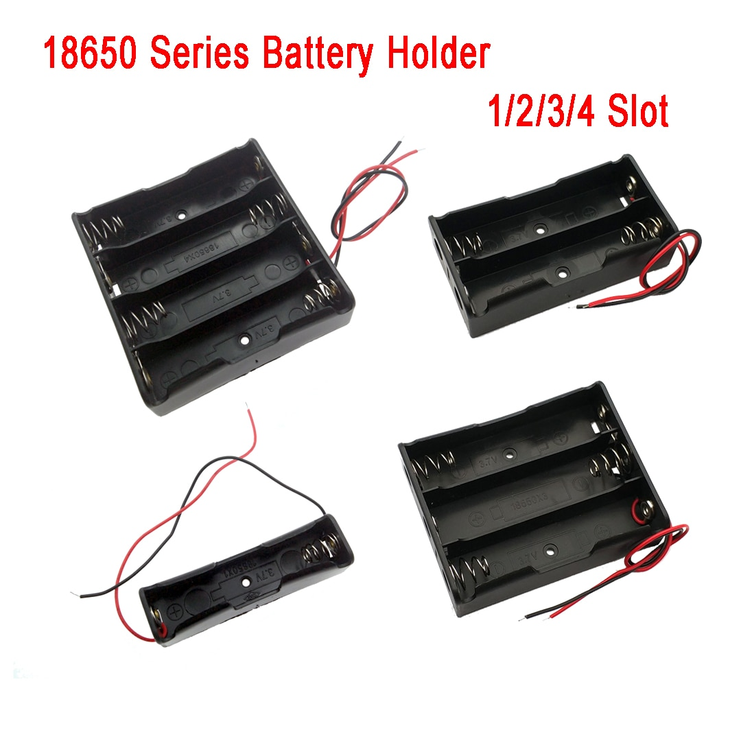 1Pcs 18650 Batterie Storage Box Fall DIY 1/2/3/4 Slot Weg DIY Batterien Clip halter Container Mit Draht Blei Pin