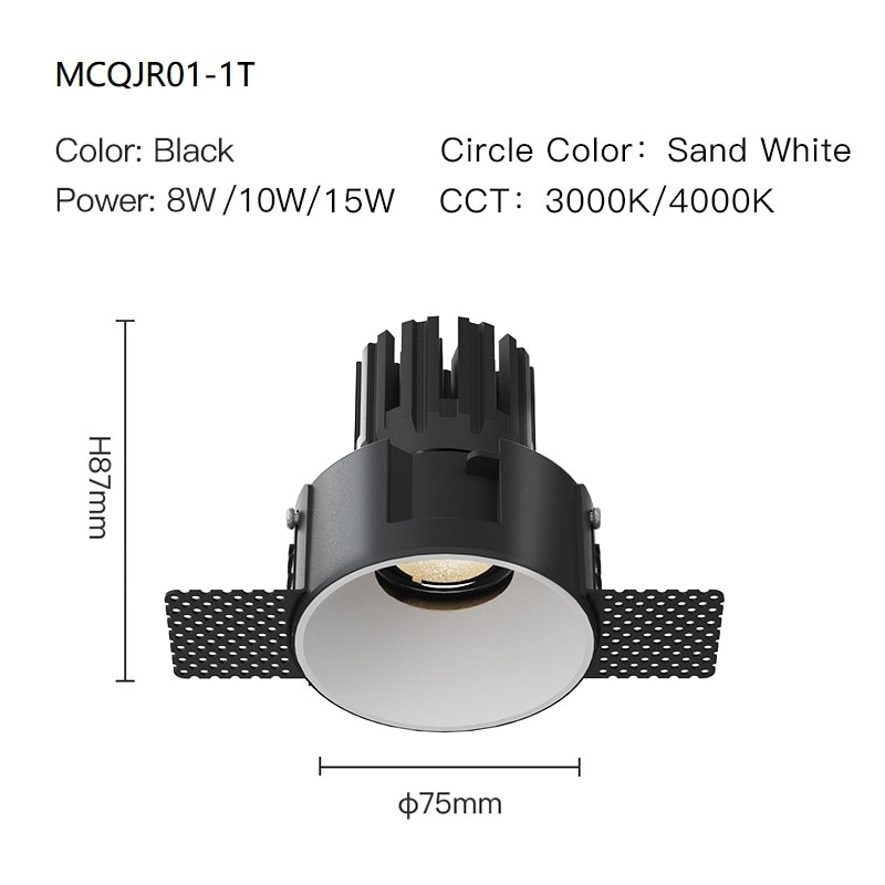 MR.XRZ Geek Trimless Round COB Led Downlights 8W 10W High End Recessed Ceiling Spot Lights Lamps For Indoor Residential Home enlarge