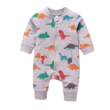 2021 New Autumn Baby Boy Dinosaur Pattern Rompers Long Sleeved Trousers Jumpsuit Infant Zipper Bodys