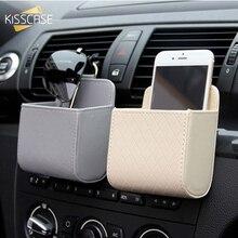 KISSCASE luxe PU étui de téléphone portable en cuir pour Xiaomi Samsung iPhone universel voiture sortie dair sac de rangement étui accessoires