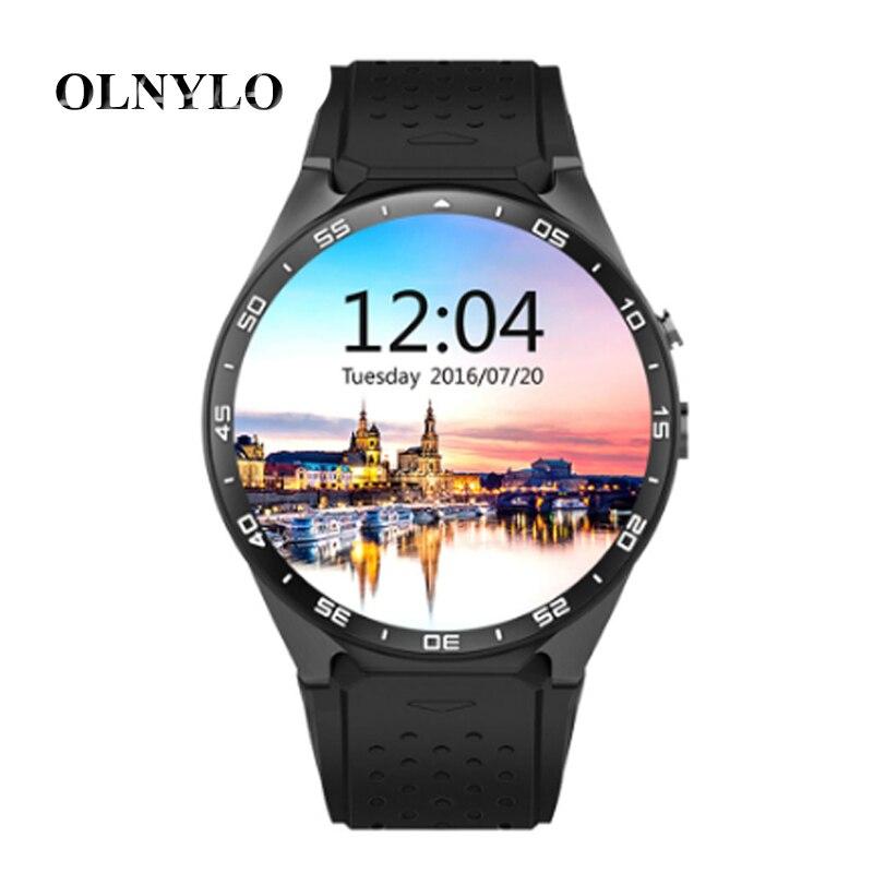 KW88 reloj inteligente Android 5,1 Fitness Tracker impermeable reloj inteligente MTK6580 quad core 3g Bluetooth Monitor GPS de frecuencia cardiaca teléfono