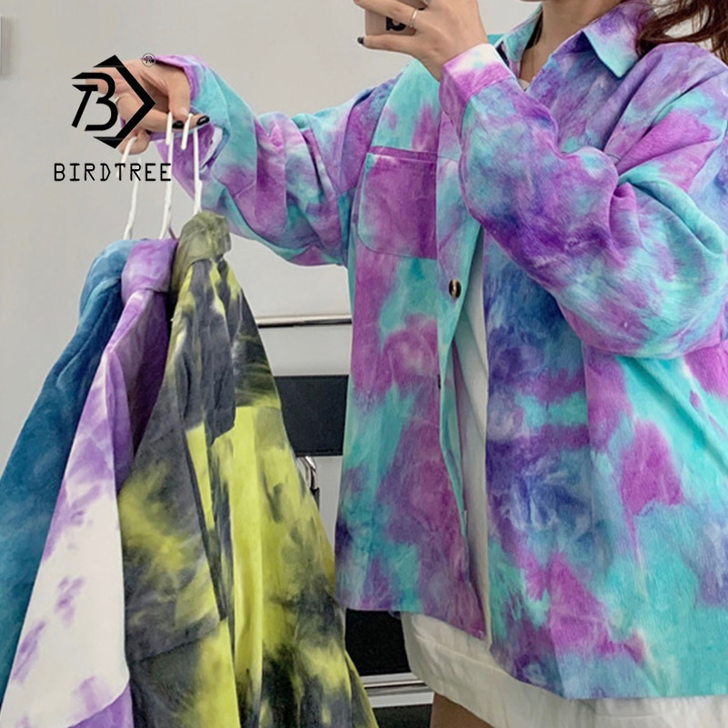 2020 Autumn New Women Vintage Tie Dye Corduroy Oversize Shirt Batwing Sleeve Button Up Pockets Blouse Spring Short Outwear T0990