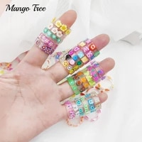 20pcslot new colorful transparent resin acrylic rings for women girl flower butterfly smile letter fruits printed jewelry gifts