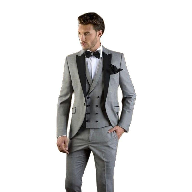 رمادي مع الأسود Laple الرجال دعوى يتأهل حفلة الزفاف سهرة (سترة + سروال + سترة) الحديثة السترة الزفاف العريس الدعاوى العادية
