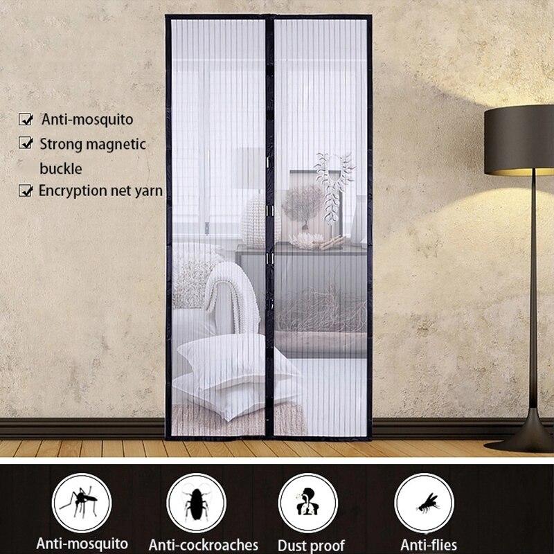 Cortina antimosquitos con hebilla magnética, cortina antimosquitos de color blanco y negro,...