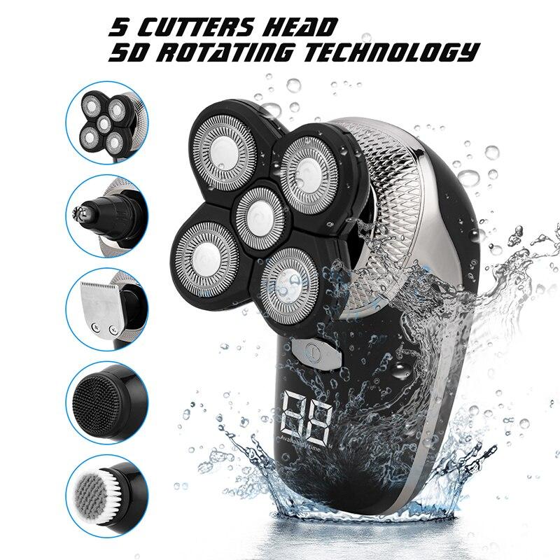 5In1 الرطب الجاف ماكينة حلاقة كهربائية الرجال اللحية الأنف الشعر المتقلب قابلة للشحن Blad رئيس الحلاقة المقص الحلاقة الوجه الجسم التهيأ كيت
