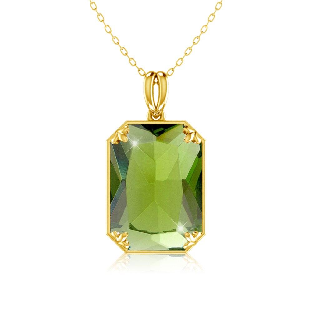 14k pingente de ouro prata real 925 pingentes peridot jóias finas para as mulheres princesa pedra preciosa natural birthstone sem colar