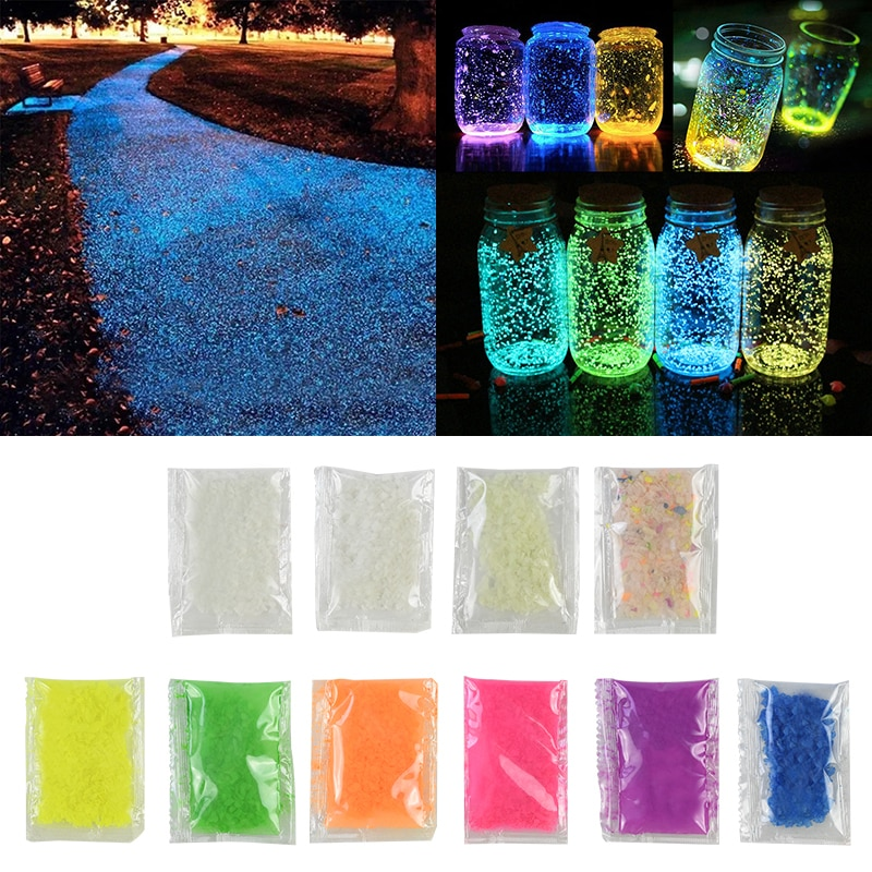 10 / 30g lichtgevende zandsteen fluorescerende grind glow in dark patio tuin DIY decoratie, starry wensen fles, aquarium ornamenten