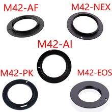 50 pcs/lot Pour M42-EOS M42-AI M42-AF M42-PK M42-NEX Aluminium M42 Vis Adaptateur Dobjectif Pour Canon Nikon Sony pentax camera lentille