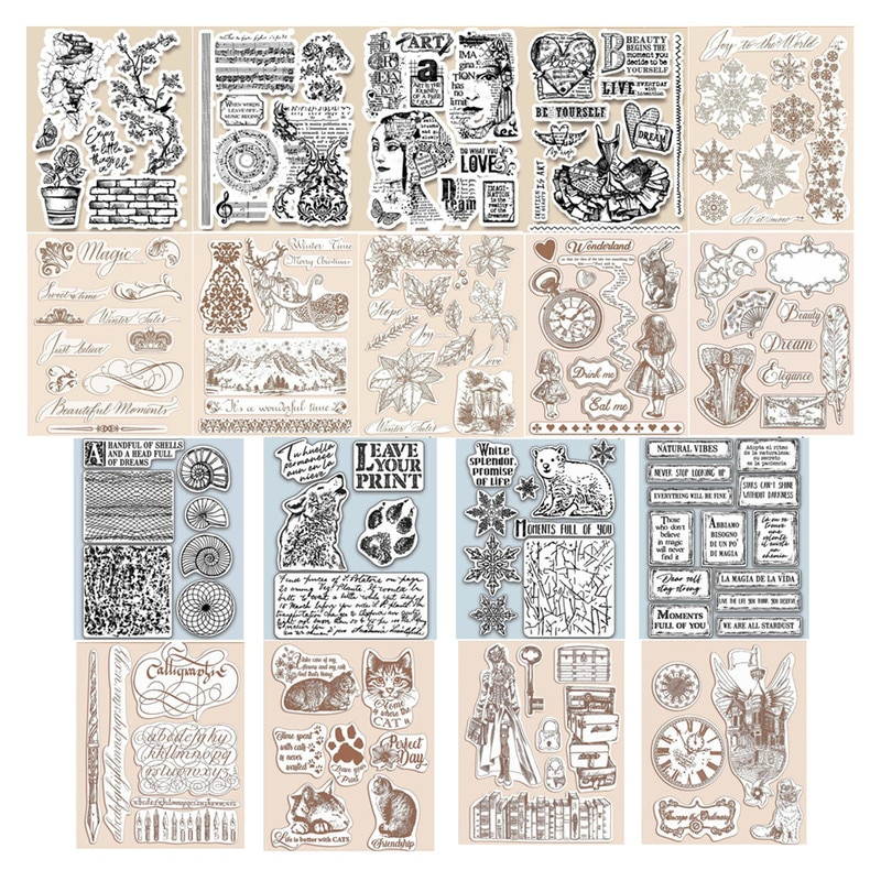 2021 DIY New Arrivals Clear Stamps Seal For Scrapbooking and Card Making Winter Cat Lady HD Natural Stamp Set Account Craft Set