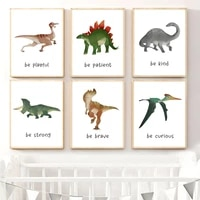 stegosaurus triceratops nursery wall art canvas painting nordic dinosaur baby room posters and prints wall pictures kids decor