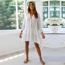 Summer Sweet Dot Print Dress Women Mini Single Bresated V Neck Wrist Sleeve Casual Dress 2020 New