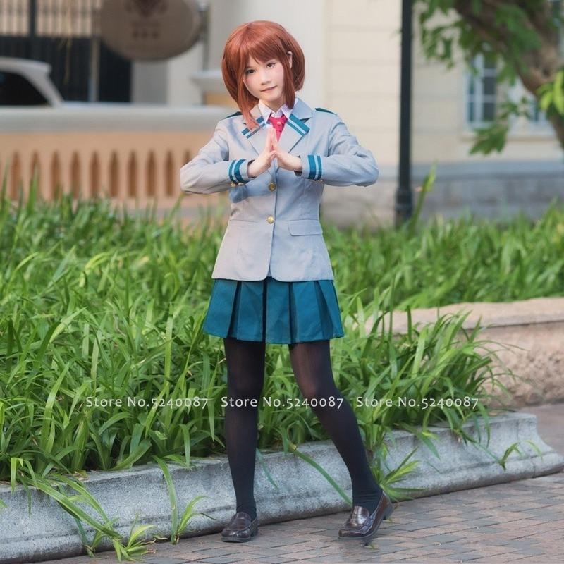 Anime Cosplay mi héroe Academia disfraz alta uniforme de la escuela Midoriya Izuku Bakugou Katsuki OCHACO URARAKA peluca Tops pantalones de falda
