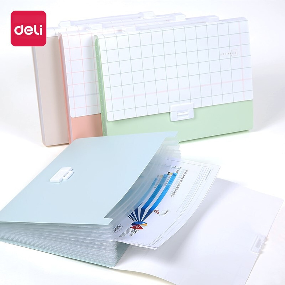 Deli 1PCS 13 Grid Portable Organ bag Student Large Capacity File Folder bag Small Fresh Creative Multi-layer A4 file Package folder multilayer student receive bag with small fresh organ folder data receive bag organ bag a4 test paper receive