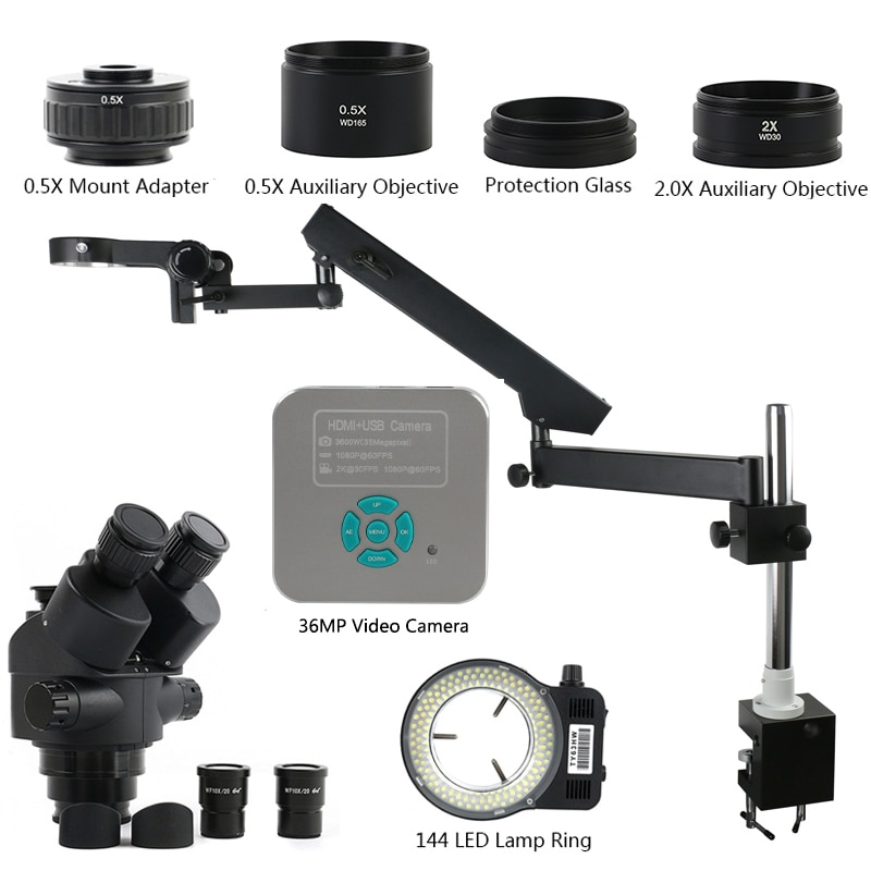 3.5X-90X لحام سمد المكبر توضيح الذراع عمود المشبك ثلاثي العينيات مجهر ستيريو 36MP 4K هدمي أوسب مجهر الكاميرا