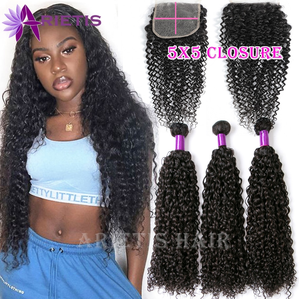 38 40 Inches Curly Bundles With Closure 4x4 5x5 6x6 HD Transparent Lace Frontal With Bundles Peruvian Hair Bundles Remy Hair