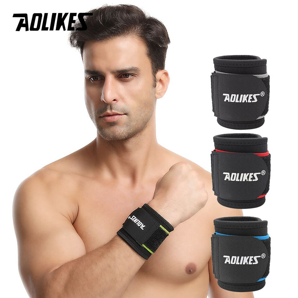 AOLIKES 1PCS Adjustable Sport Wristband Wrist Brace Wrap Bandage Support Band Gym Strap Safety sport