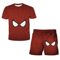 spiderman summer boys t shirt spiderman cartoon t shirt shorts 3d printing childrens short sleeve top dress suit