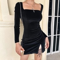 2020 autumn spring women sexy silk long sleeve split goth dress hip package mini vestido party club low chest outfits cloth